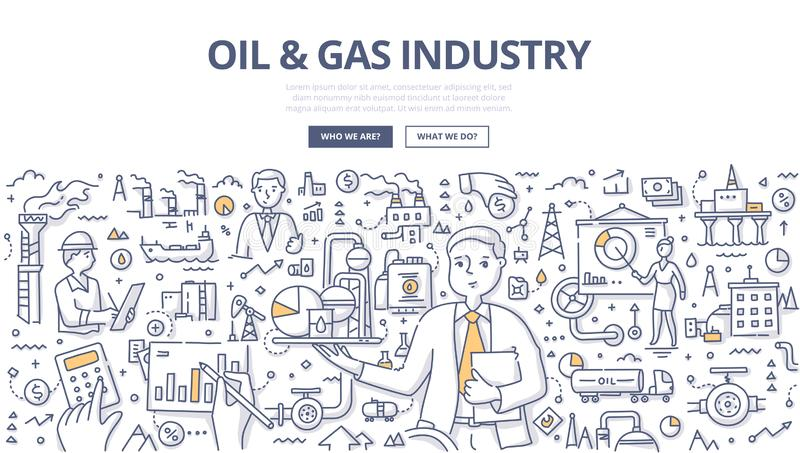 Oil & Gas Industry Doodle Concept. Manager presenting the value of the oil & gas market in abstract way. Doodle concept of oil and gas exploration and production vector illustration