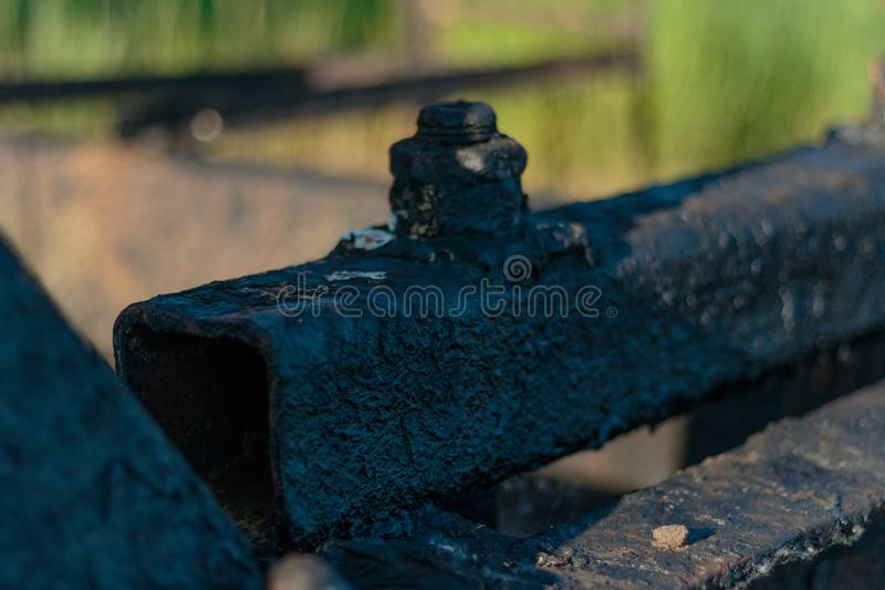 Oil, gas industry. Group wellheads and valve armature. Oil, gas industry. Group of wellhead and reinforcement valves. Environmental pollution royalty free stock images