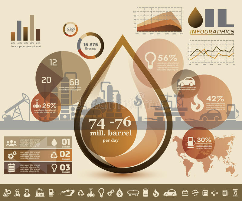 Oil and gas industry infographics. Extraction, processing and trasportation stock illustration