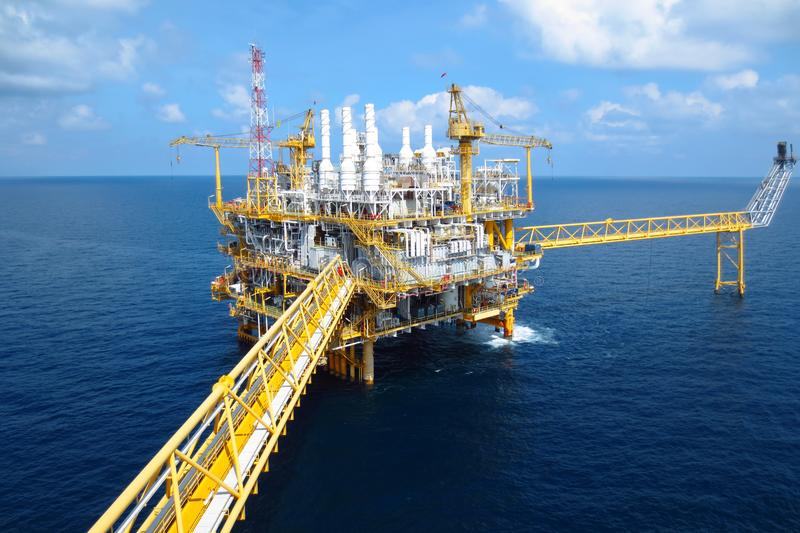 Oil and gas industry .Offshore construction platform for production oil and gas, Production platform . stock image