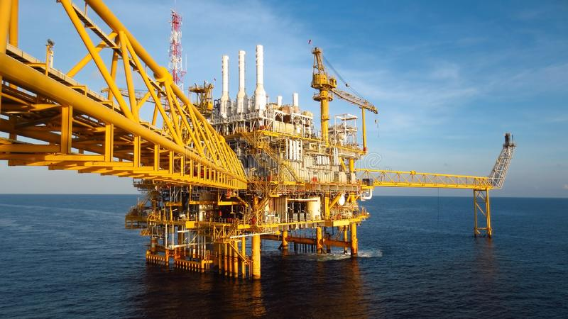 Oil and gas industry .Offshore construction platform for production oil and gas, Production platform . royalty free stock photography