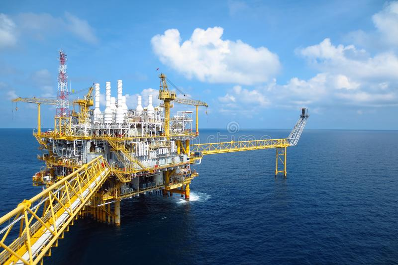 Oil and gas industry .Offshore construction platform for production oil and gas, Production platform . royalty free stock images