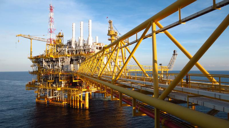 Oil and gas industry .Offshore construction platform for production oil and gas, Production platform . stock photos