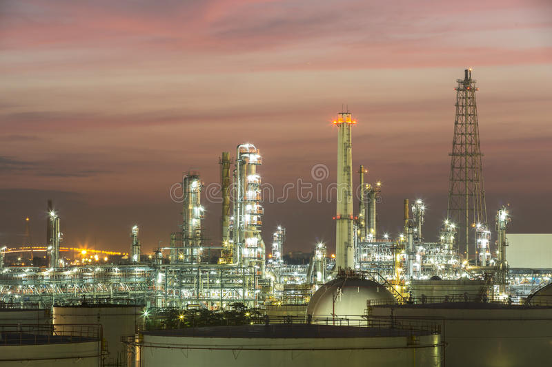 Oil and gas industry - refinery at sunset - factory - petrochemical plant royalty free stock image