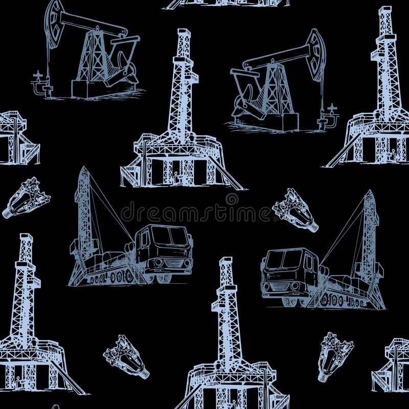 Oil and Gas industry. Stationary and mobile exploration drilling rigs. Gray on Black. Seampless pattern. stock photos
