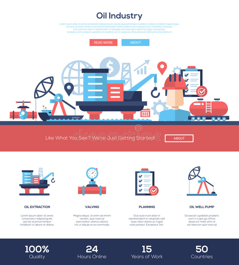 Download Oil And Gas Industry Website Header Banner With Webdesign Elements Stock Vector - Illustration of modern, company: 68829794