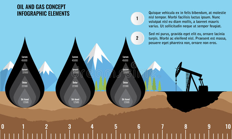 Oil and gas infographic design elements with drop. Soil layers stock illustration