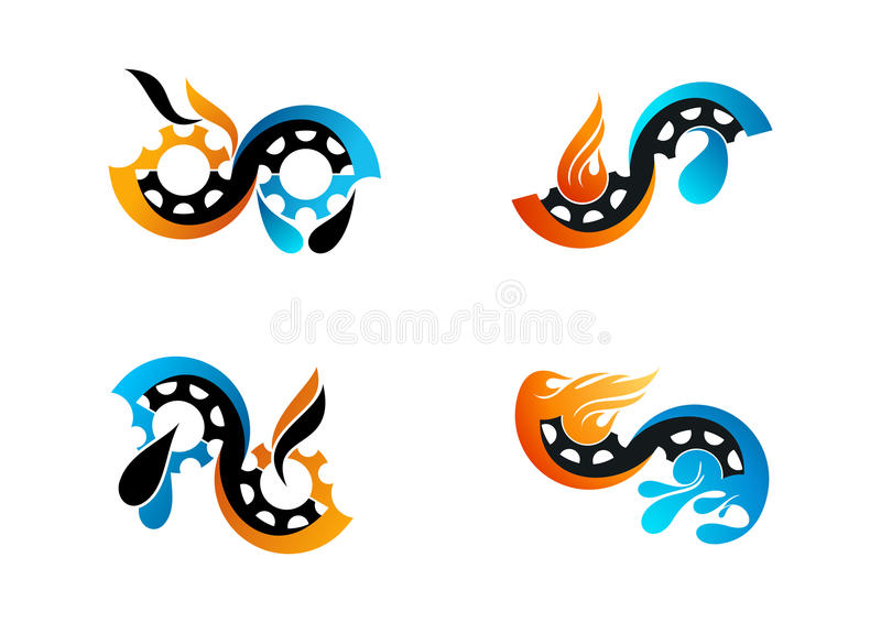 Oil gas logo, gear flame water symbol and fuel vector concept design. Abstract infinite oil gas logo, gear flame water symbol and fuel vector concept design royalty free illustration