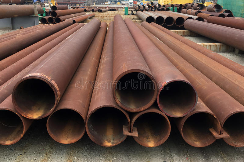 Oil and gas offshore industry pipe work. Pipe work in oil and gas offshore industry in a fabrication yard royalty free stock photography