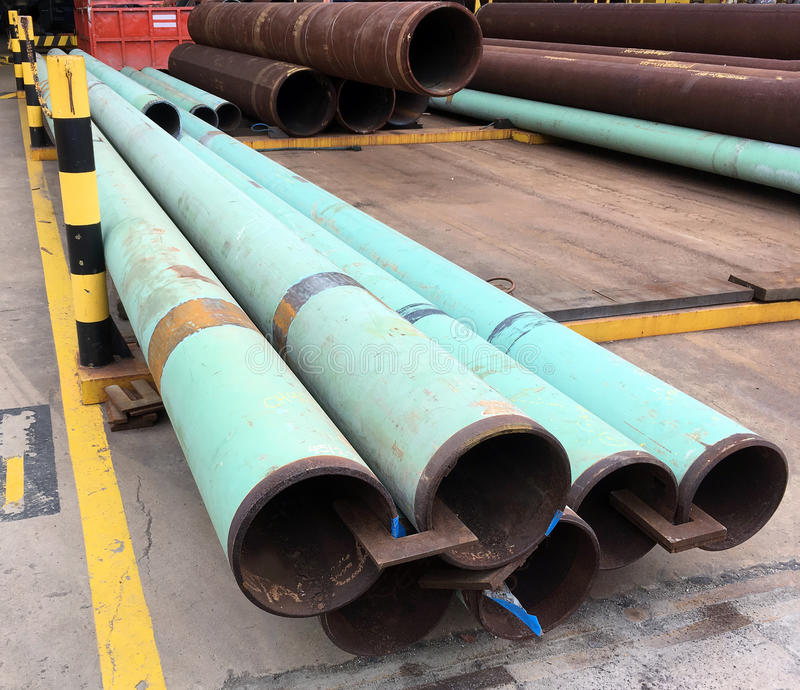 Oil and gas offshore industry structural steel pipe work. Pipe work structural steel in oil and gas offshore industry in a fabrication yard royalty free stock image