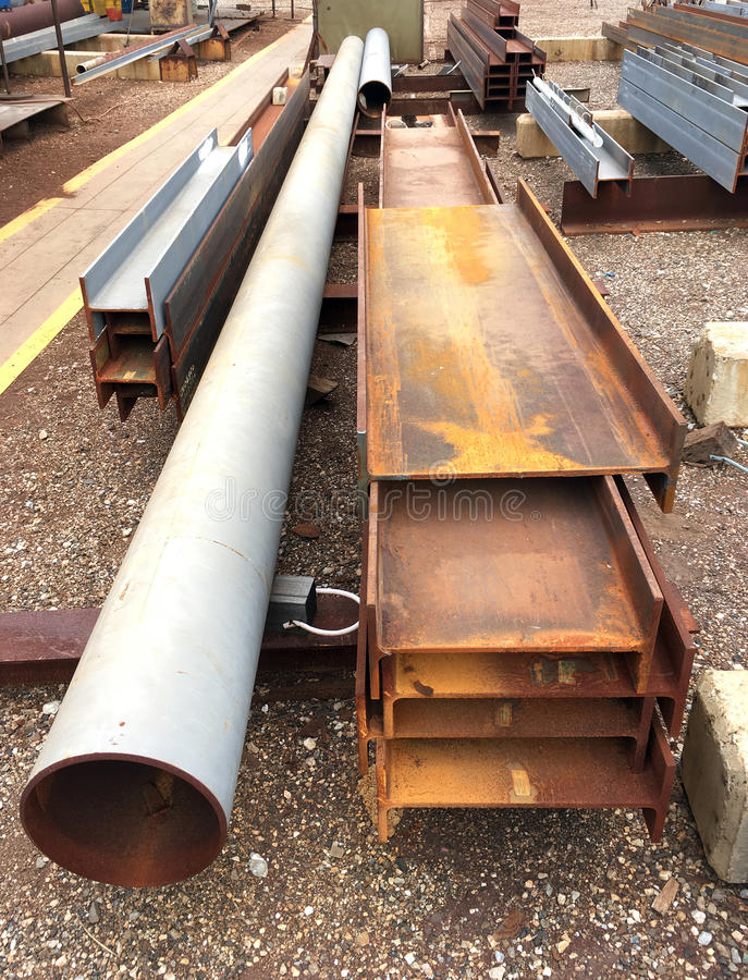 Oil and gas offshore industry structural steel pipe work. Pipe work structural steel in oil and gas offshore industry in a fabrication yard stock image