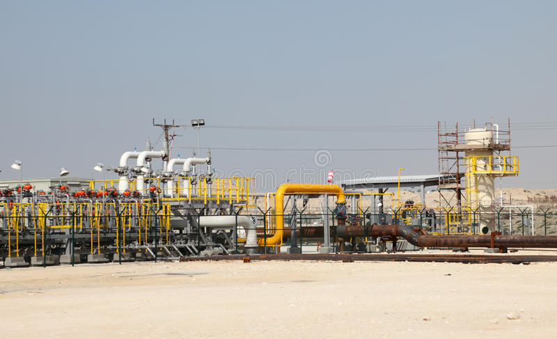 Oil and gas pipeline in the desert royalty free stock image
