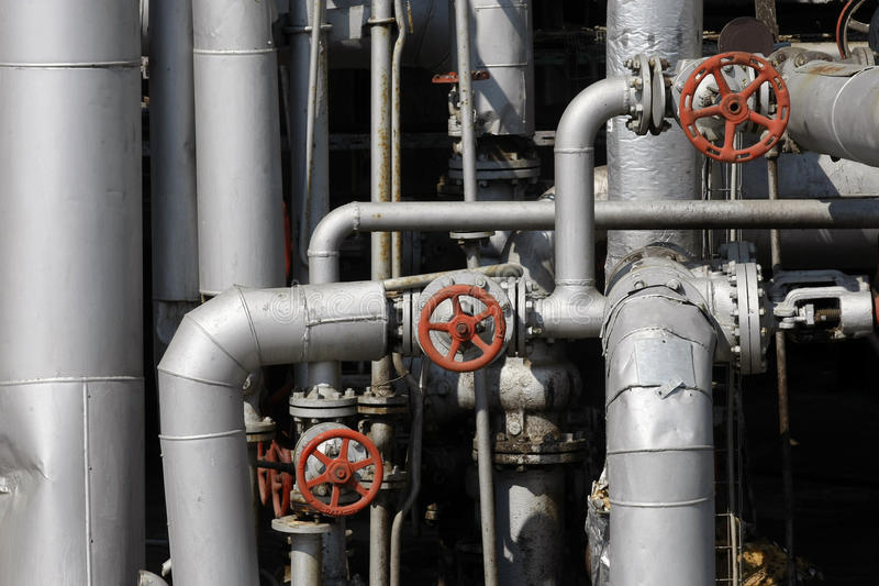 Oil and gas pipes. In a petrochemical refinery stock photography
