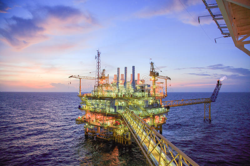 Oil and gas platform or Construction platform in the gulf or the sea, Production process for oil and gas industry.  stock photos