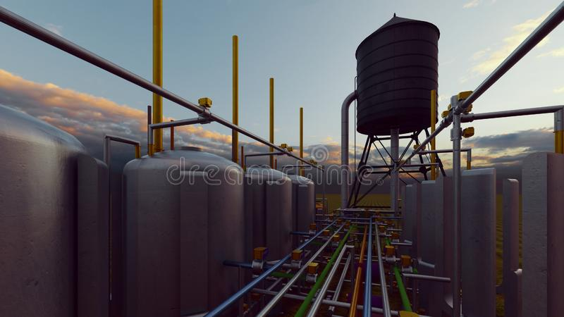Oil and gas processing plant 3d rendering. Oil and gas processing plant vector illustration