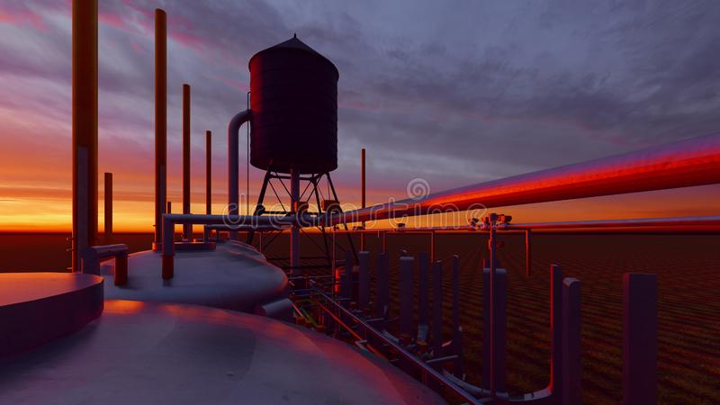 Oil and gas processing plant 3d rendering. Oil and gas processing plant stock illustration