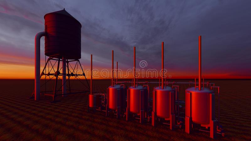 Oil and gas processing plant 3d rendering vector illustration
