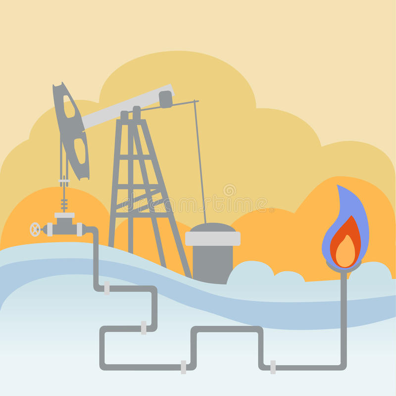 Oil and gas processing plant and fire. Oil and gas processing plant with pipe line valves and warming fire royalty free illustration
