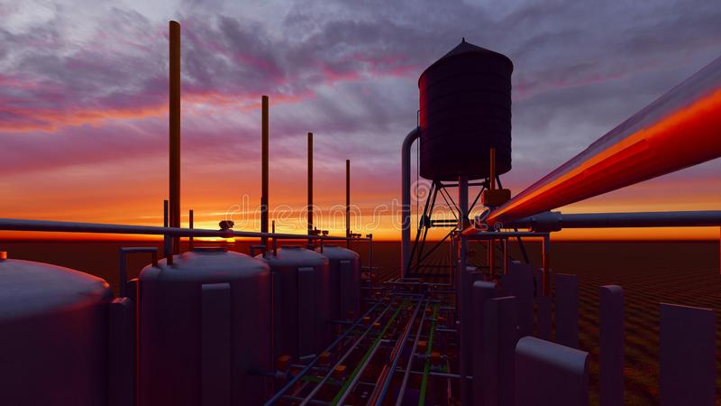 Oil and gas processing plant 3d rendering. Oil and gas processing plant royalty free illustration