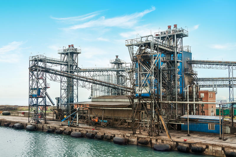 Oil and gas processing plant. On the shore of the sea stock photo