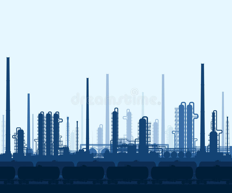 Oil and gas refinery stock illustration