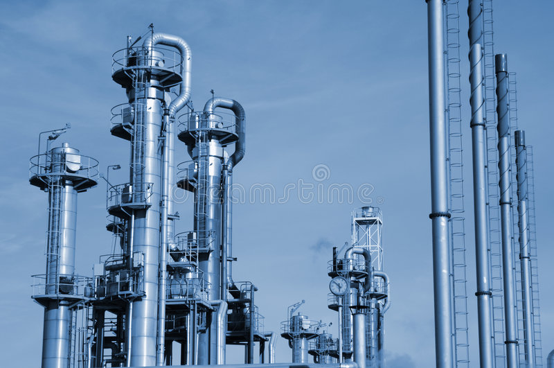 Oil and gas refinery close-up royalty free stock images