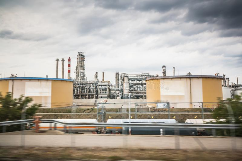 Oil or gas refinery. equipment and complexes with gasoline, pipelines, tanks for hydrocarbon processing and oil refining. royalty free stock photo