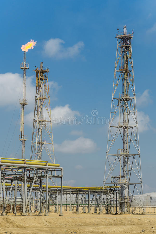Oil and Gas Refinery Flare. At Daylight stock photos