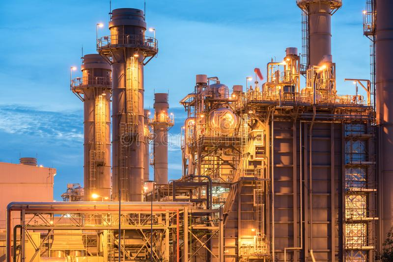 Oil and gas refinery industry Factory at sunset stock photos