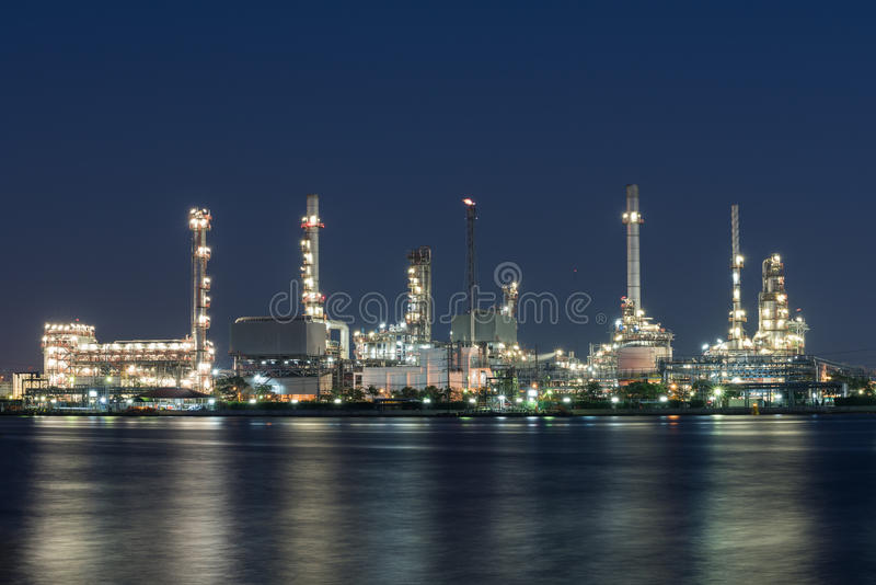 Oil and gas refinery petrochemical factory stock image