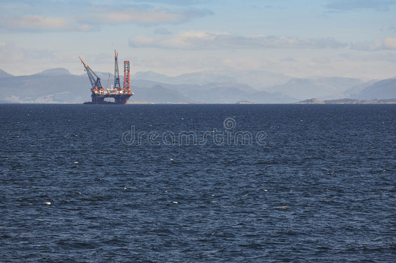 Oil and gas sea platform in Norway. Energy industry. Petroleum. Exploration stock image
