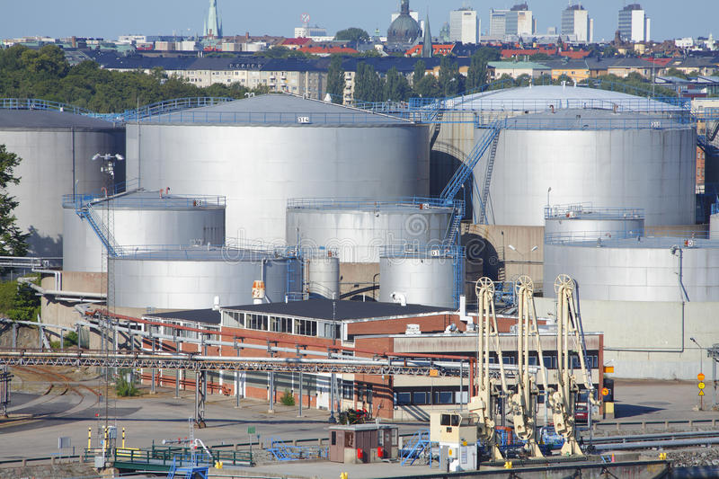 Oil gas tanks. Oil and or gas tanks at port stock photos