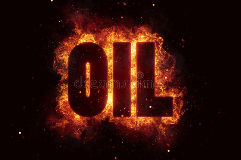 Oil gas text on fire flames explosion burning royalty free stock photos