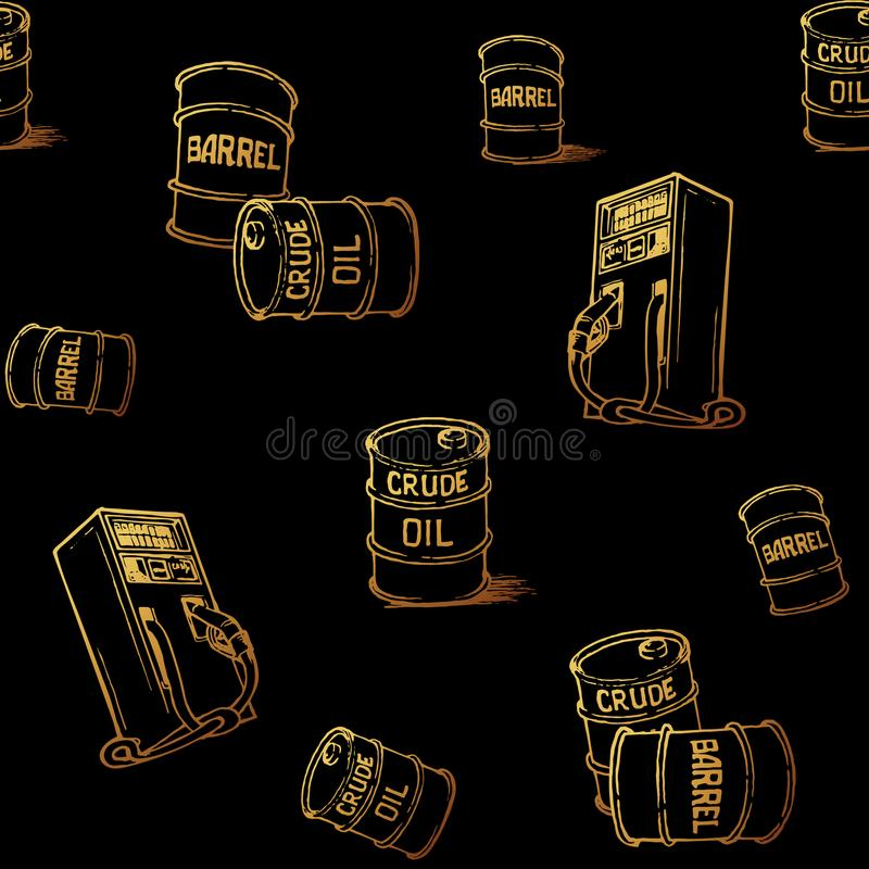 Oil and gas transportation. Barrels and retail gas pump. Gold on black. Seamless pattern stock photography