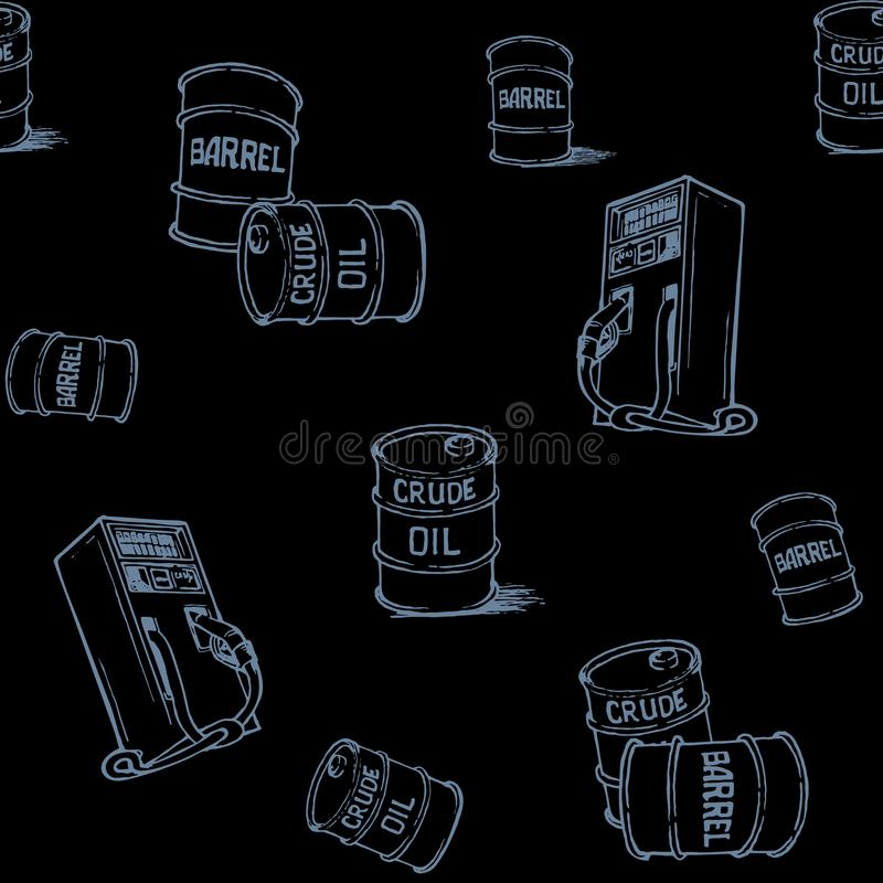 Oil and gas transportation. Barrels and retail gas pump. Gray on black. Seamless pattern. royalty free stock image