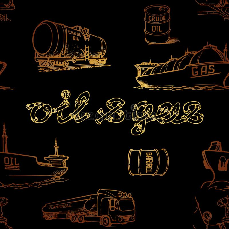 Oil and gas transportation. Ocean, railroad and road transport. Gold on black. Seamless pattern. stock image