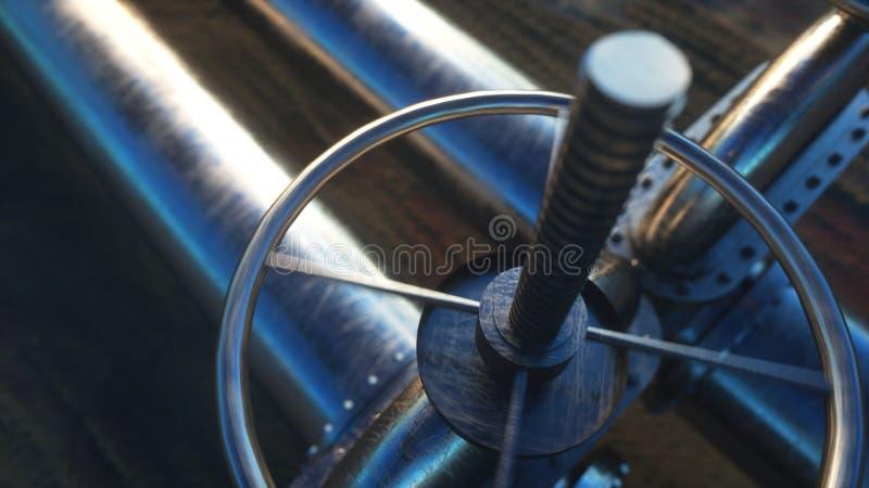 Oil, gas valve. Pipeline in desert. Oil concept. 3d rendering. royalty free stock photos