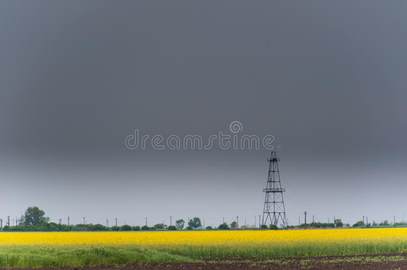 Download Oil And Gas Well Rig, Outlined Rural Canola Field Royalty Free Stock Image - Image: 30847386