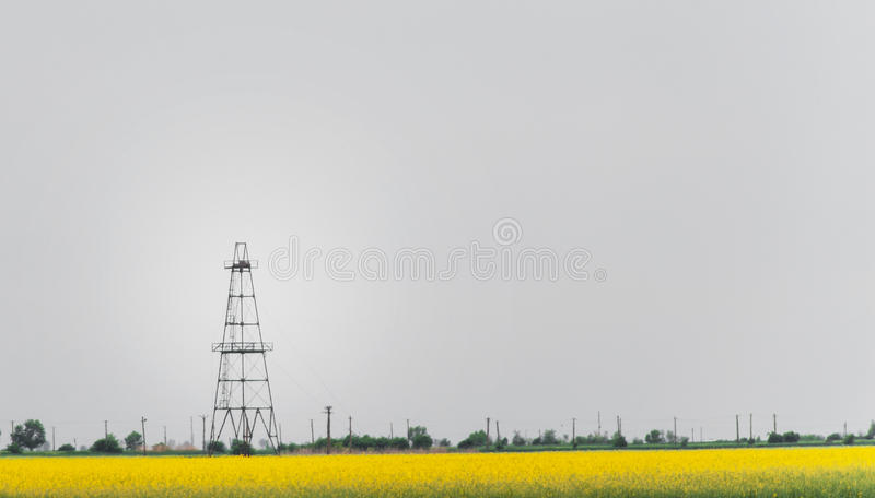 Download Oil And Gas Well Rig, Outlined Rural Canola Field Stock Photo - Image: 30847388