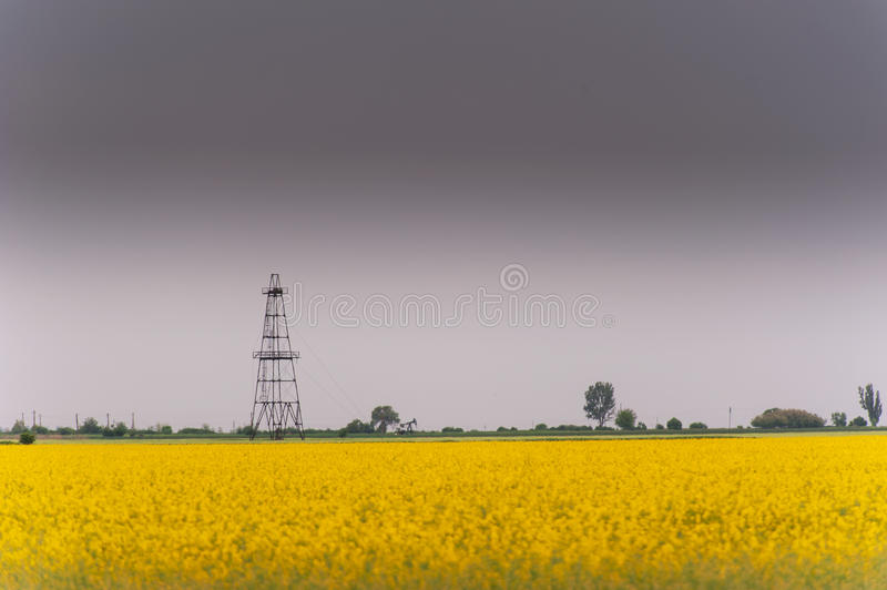 Download Oil And Gas Well Rig, Outlined Rural Canola Field Stock Photo - Image: 30847402