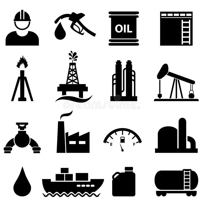 Oil and gasoline icon set stock illustration