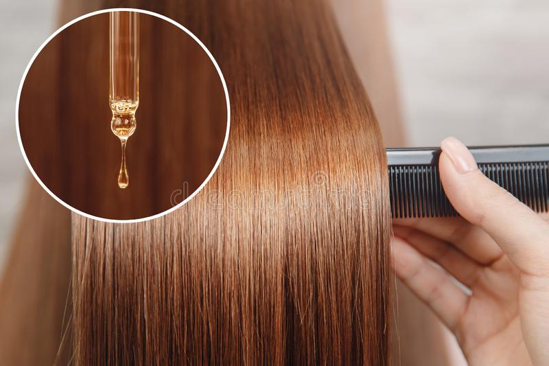 Oil hair treatment for woman. Concept hairdresser spa salon.  royalty free stock photography