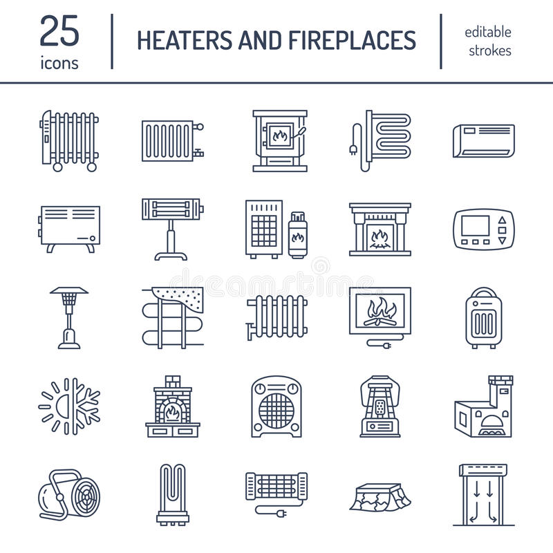 Oil heater, fireplace, convector, panel column radiator and other house heating appliances line icons. Home warming thin vector illustration