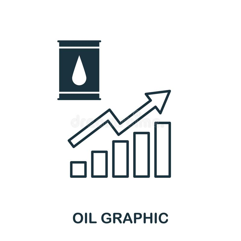 Oil Increase Graphic icon. Mobile apps, printing and more usage. Simple element sing. Monochrome Oil Increase Graphic icon illustr. Ation stock illustration