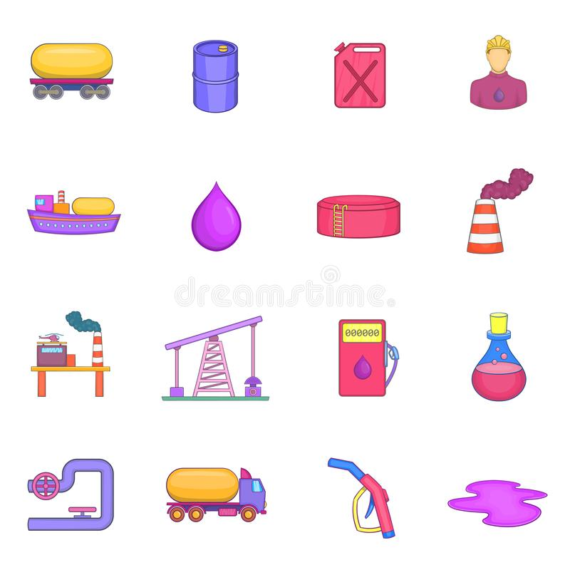 Oil industrial icons set, cartoon style. Oil industrial icons set in cartoon style. Energy and fuel production set collection illustration stock illustration