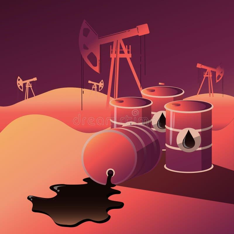 Oil industry business of gasoline. Diesel generation fuel distribution oil pumps , oil industry equipment Modern flat style vector illustration royalty free illustration