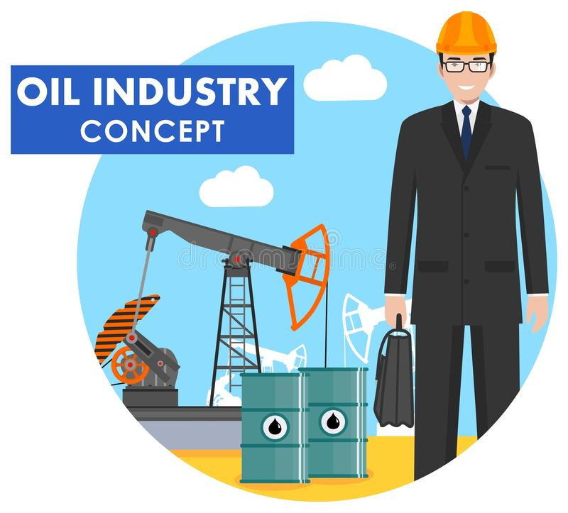 Oil industry concept. Detailed illustration of engineer, businessman on background with oil pump and barrels with fuel flat style. Detailed illustration of vector illustration