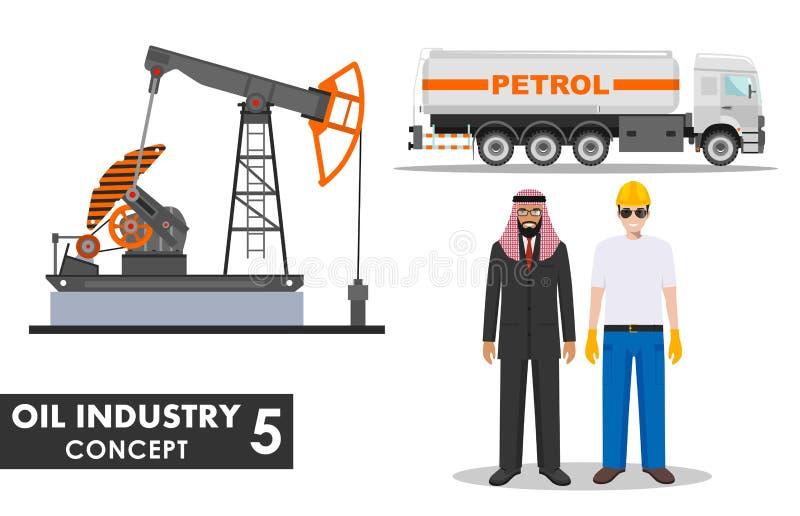 Oil industry concept. Detailed illustration of gasoline truck, oil pump, businessman, engineer and arab men in flat stock illustration