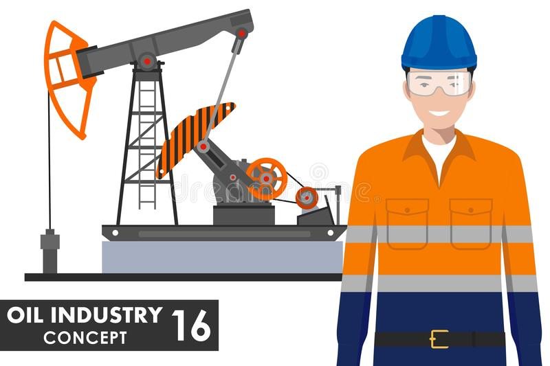 Oil industry concept. Detailed illustration of oil pump and worker in flat style on white background. Vector stock illustration