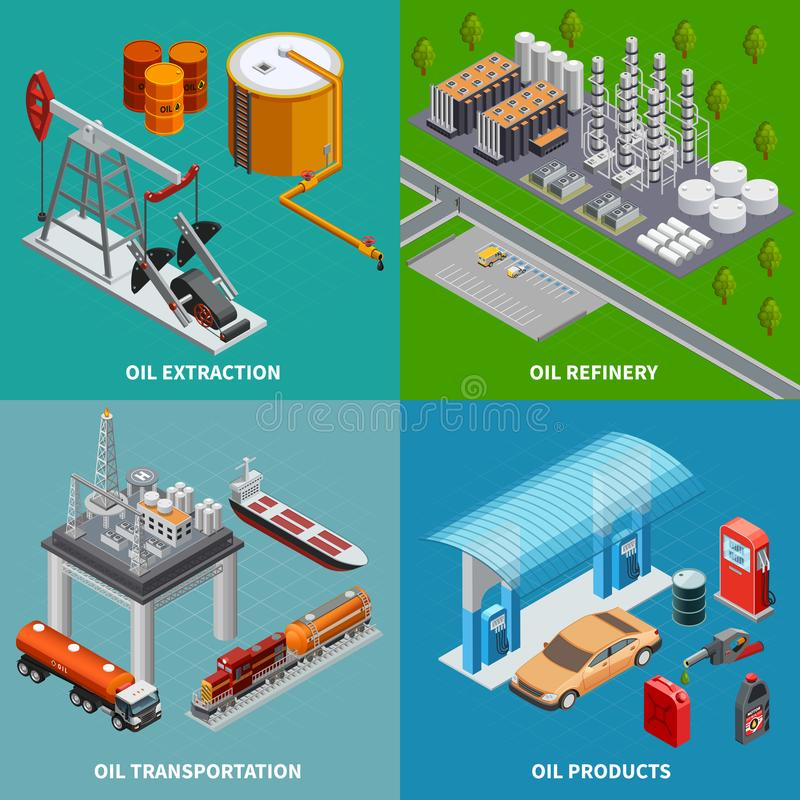 Oil Industry 2x2 Concept stock illustration